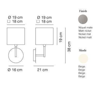 HOTEL - nástěnná lampa, konstrukce matnýnikl /  béžové oválné stínidlo