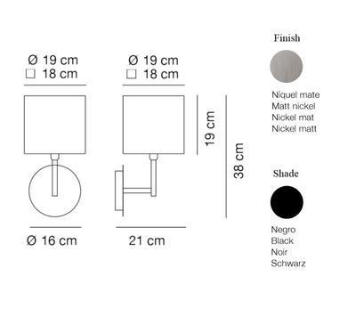 HOTEL - nástěnná lampa, konstrukce matnýnikl / černé hranaté stínidlo