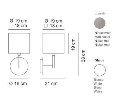 HOTEL - nástěnná lampa, konstrukce matnýnikl / bílé oválné stínidlo