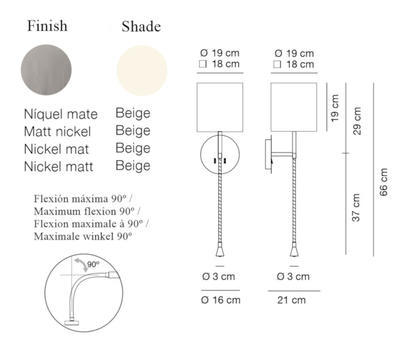 HOTEL PHYTON - nástěnná lampa, konstrukce matnýnikl /  béžové oválné stínidlo