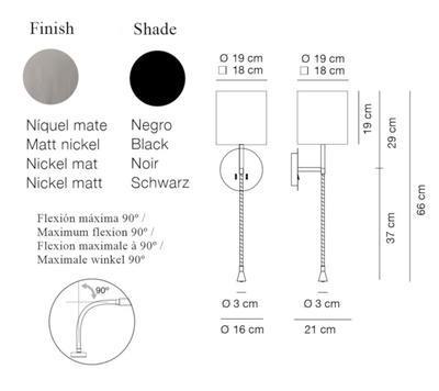 HOTEL PHYTON - nástěnná lampa, konstrukce matnýnikl / černé hranaté stínidlo