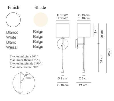 HOTEL PHYTON - nástěnná lampa, konstrukce bílá /  béžové oválné stínidlo