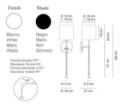 HOTEL PHYTON - nástěnná lampa, konstrukce bílá /  černé hranaté stínidlo