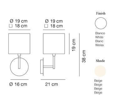 HOTEL - nástěnná lampa, konstrukce bílá /  béžové oválné stínidlo