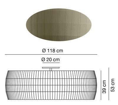 ISAMU - stropní světlo, Ø 118 cm, olivově zelená