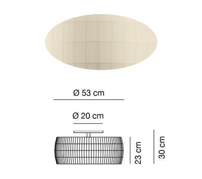 ISAMU - stropní světlo, Ø 53 cm, perlová