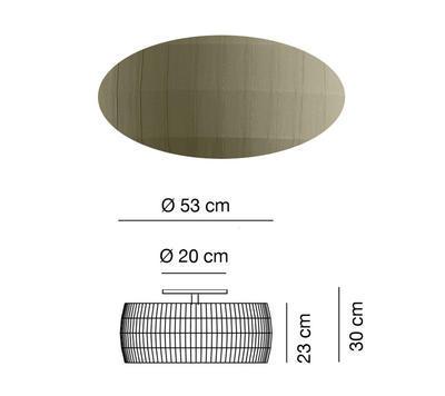 ISAMU - stropní světlo, Ø 53 cm, olivově zelená