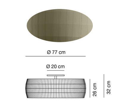 ISAMU - stropní světlo, Ø 77 cm, olivově zelená