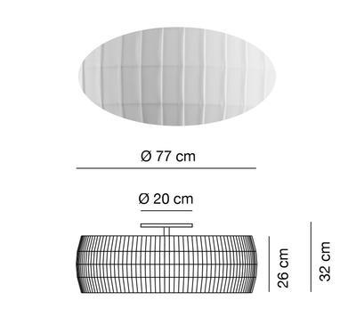 ISAMU - stropní světlo, Ø 77 cm, bílá