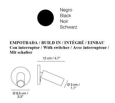 JERRY - nástěnná lampa, vestavěná s vypínačem, černá