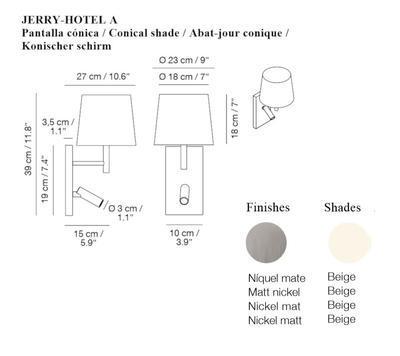JERRY HOTEL - nástěnná lampa, konstrukce nikl, kónické stínidlo béžové