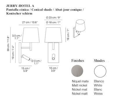 JERRY HOTEL - nástěnná lampa, konstrukce nikl, kónické stínidlo bílé