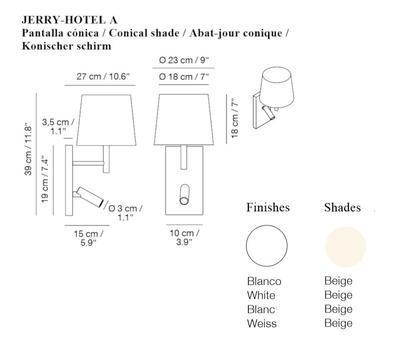 JERRY HOTEL - nástěnná lampa, konstrukce bílá, kónické stínidlo béžové