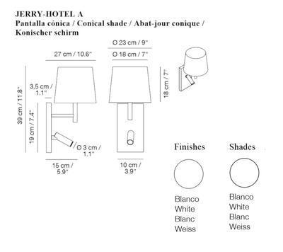 JERRY HOTEL - nástěnná lampa, konstrukce bílá, kónické stínidlo bílé
