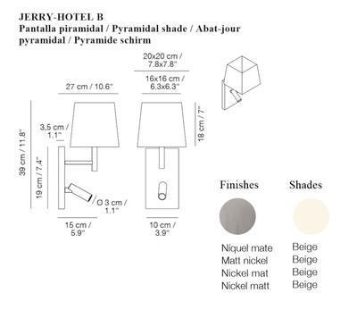 JERRY HOTEL - nástěnná lampa, konstrukce nikl, pyramidové stínidlo béžové