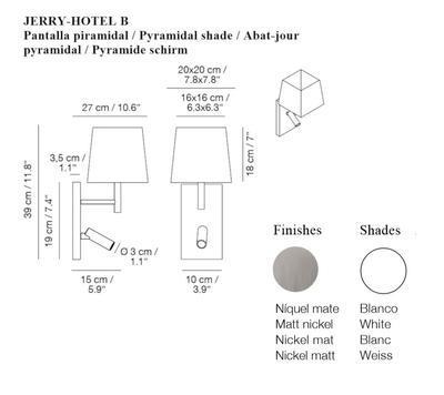 JERRY HOTEL - nástěnná lampa, konstrukce nikl, pyramidové stínidlo bílé