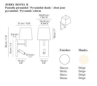 JERRY HOTEL - nástěnná lampa, konstrukce bílá, pyramidové stínidlo béžové