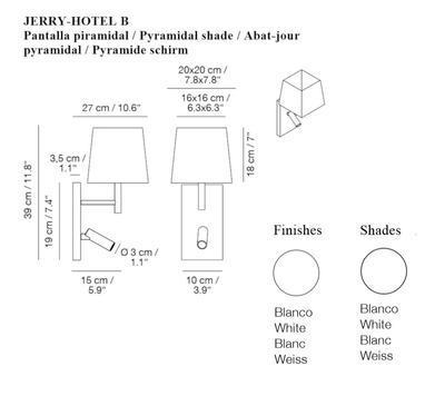 JERRY HOTEL - nástěnná lampa, konstrukce bílá, pyramidové stínidlo bílé