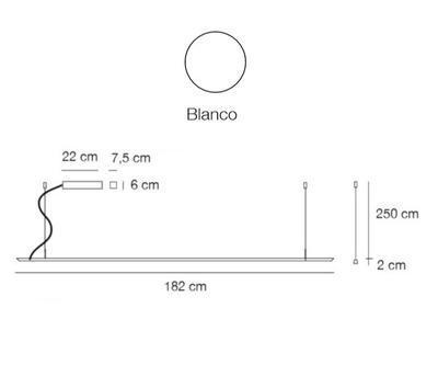 LINEAL - závěsná lampa, délka 182 cm, bílá