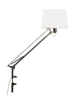 LEKTOR - stolní lampa, s klipem, ocelově šedá