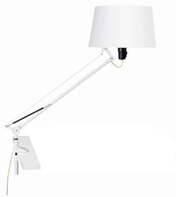 LEKTOR - stolní lampa, s klipem, bílá