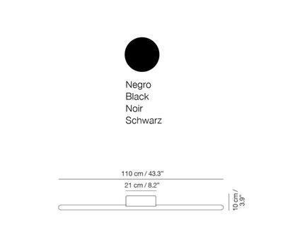LINEAL - nástěnná lampa, 110 cm, černá