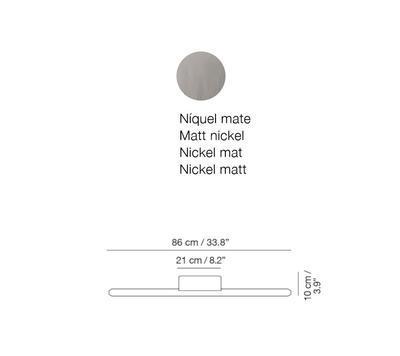 LINEAL - nástěnná lampa, 86 cm, matný nikl