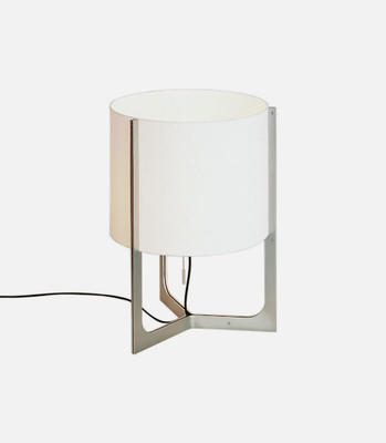 NIRVANA - stolní lampa, Ø 40 cm matný nikl, stínidlo bílé  - 1