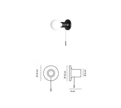 PUNT - nástěnná nebo stropní lampa, černá s vypínačem