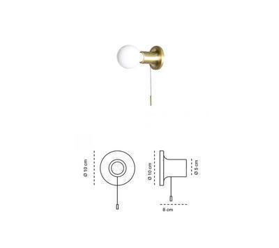 PUNT - nástěnná nebo stropní lampa, saténově zlatá s vypínačem