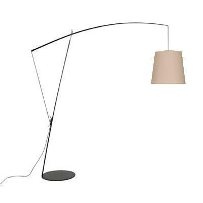 ROBIN - stojací lampa, černá konstrukce / béžový polykarbonát