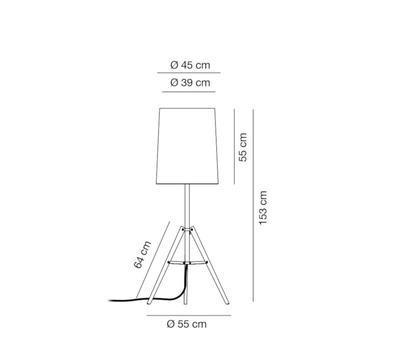 TRIPOD - stojací lampa, výška 153 cm