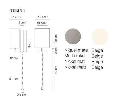 TURÍN 1 - nástěnná lampa, konstrukce matnýnikl / stínidlo béžové