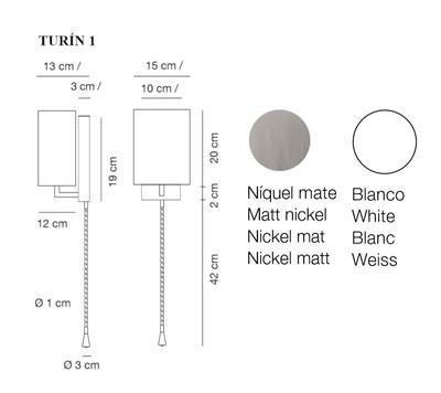 TURÍN 1 - nástěnná lampa, konstrukce matnýnikl / stínidlo bílé