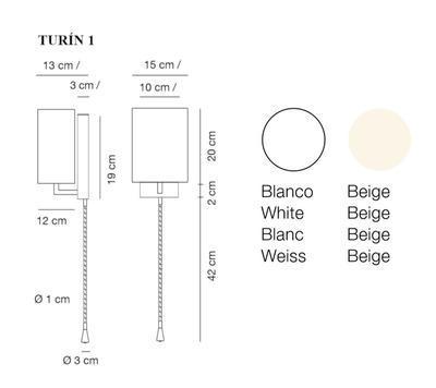TURÍN 1 - nástěnná lampa, konstrukce bílá / stínidlo béžové