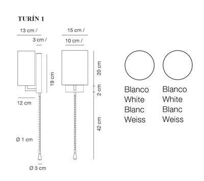 TURÍN 1 - nástěnná lampa, konstrukce bílá / stínidlo bílé