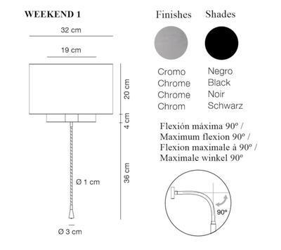 WEEKEND 1 - nástěnná lampa, konstrukce chrom, stínidlo černé
