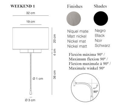 WEEKEND 1 - nástěnná lampa, konstrukce matný nikl, stínidlo černé