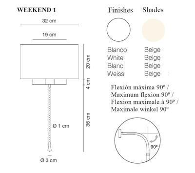 WEEKEND 1 - nástěnná lampa, konstrukce bílá, stínidlo béžové