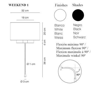 WEEKEND 1 - nástěnná lampa, konstrukce bílá, stínidlo černé