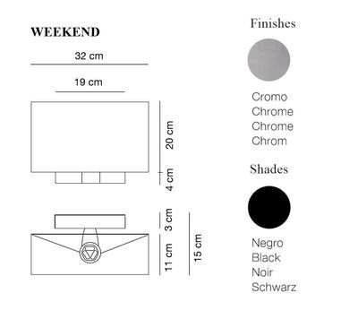 WEEKEND - nástěnná lampa, konstrukce chrom, stínidlo černé