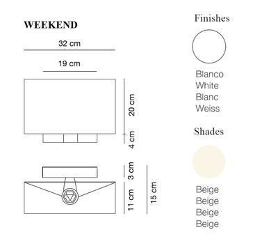 WEEKEND - nástěnná lampa, konstrukce bílá, stínidlo béžové