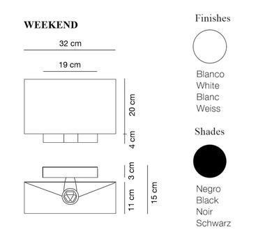 WEEKEND - nástěnná lampa, konstrukce bílá, stínidlo černé