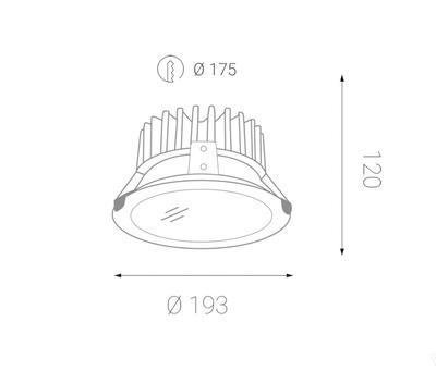 LED2 BASIC 190 20W ZÁPUSTNÉ BÍLÉ 4000K - 2