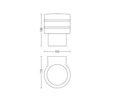 Tuar wall lantern inox 1x9.5W 230V - 2