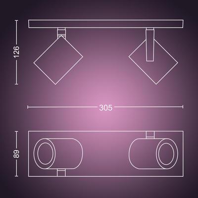 Argenta plate/spiral white 2x5.7W 240V - 2