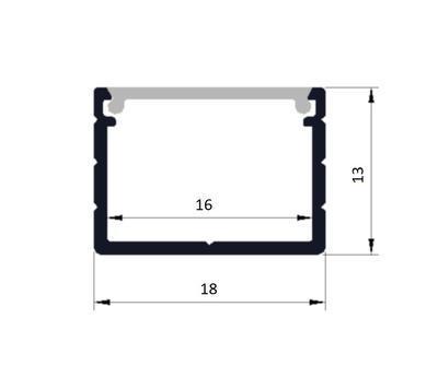 ALU profil přisazený 18x13mm matná krytka 1m - 2