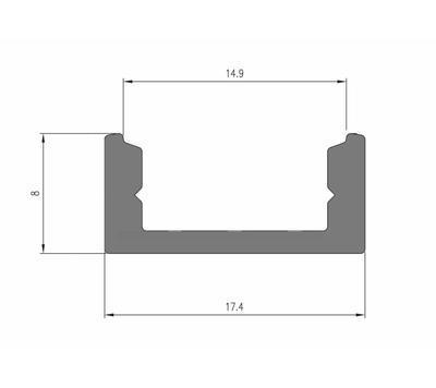 ALU přisazený černý 17,4x8 délka 2m krytka mat - 2