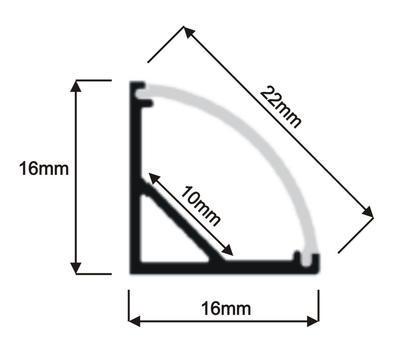 ALU rohový 16x16 délka 1m krytka mat oválná - 2