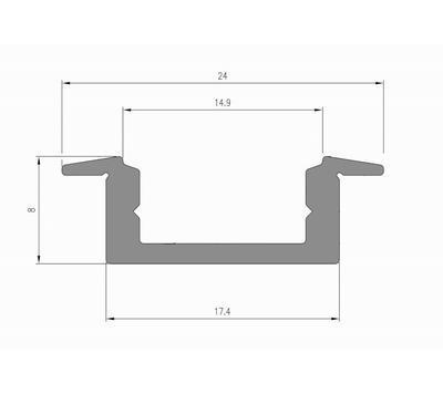 ALU profil zápustný 17,4x8 délka 2m krytka čirá - 2